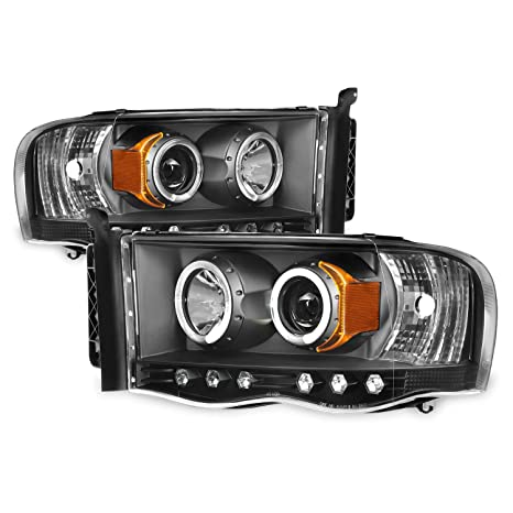 For 2002-2005 Dodge Ram 1500 | 2003-2005 Ram 2500 3500 Black Dual Halo  Projector Headlights Pair Set