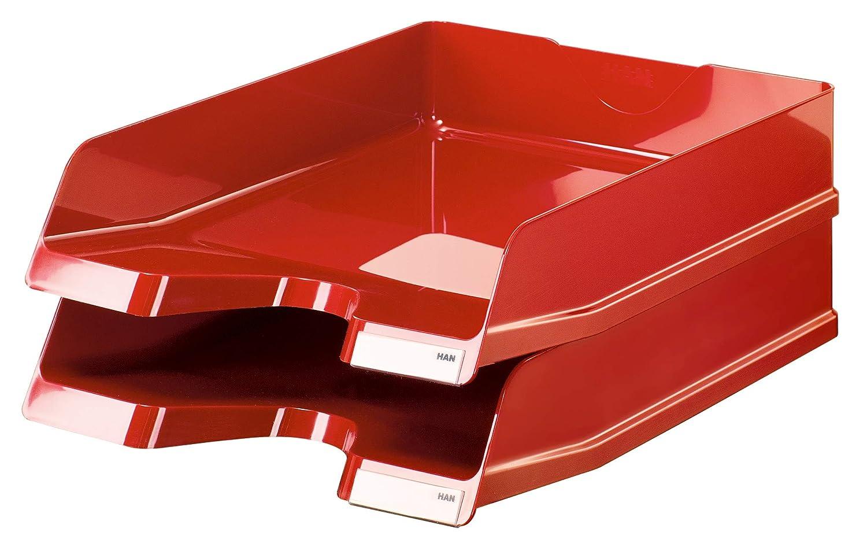 5er Set f/ür DIN A4//C4 inkl. Beschriftungsclip, 25,2 x 34 x 6,5 cm B x T x H HAN Briefablage Viva Senkrecht oder versetzt stapelbares und extra stabiles Briefkorb savanne