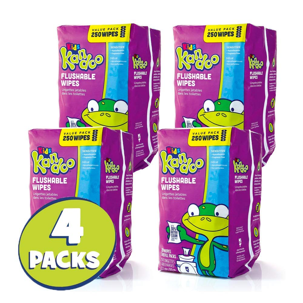Flushable Wet Wipes for Kids, Sensitive by Kandoo, Hypoallergenic Potty Training Cleansing Cloths Refills, Unscented, 250 Count per Pack, Pack of 4