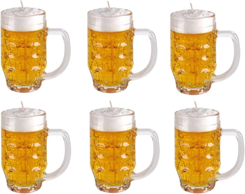 6 Velas como Jarra de cerveza 0,25 litros. 6 Velas en vaso de cerveza. Cristal Después de lavado como cerveza cristal benutzbar.: Amazon.es: Hogar