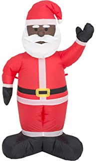 costume agent inflatable airblown indoor and outdoor christmas decoration 4 feet black santa - African American Outdoor Christmas Decorations
