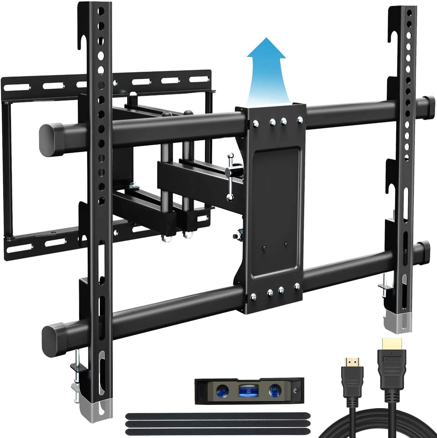 Full Motion TV Wall Mount for Most 32-83 inch Flat Screen Curved Screen 4K TVs, TV Mount Bracket – Articulating Arms with Smooth Extension, Swivel, Tilt, Height Adjustment Design and Fits 16 Studs