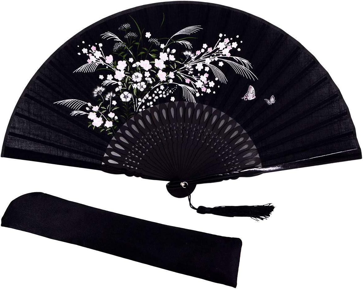 meifan Chinese/Japanese Handmade Handheld Folding Fan (Flower)