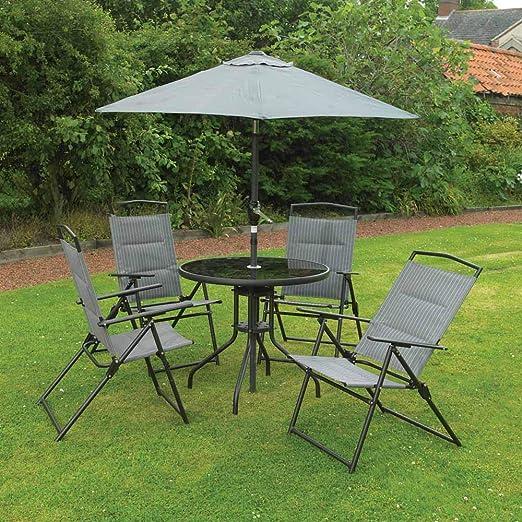 Kingfisher Set de 6 Piezas para Muebles de jardín, Color Gris, 4 sillas Acolchadas, Mesa de Cristal y sombrilla jardín: Amazon.es: Jardín