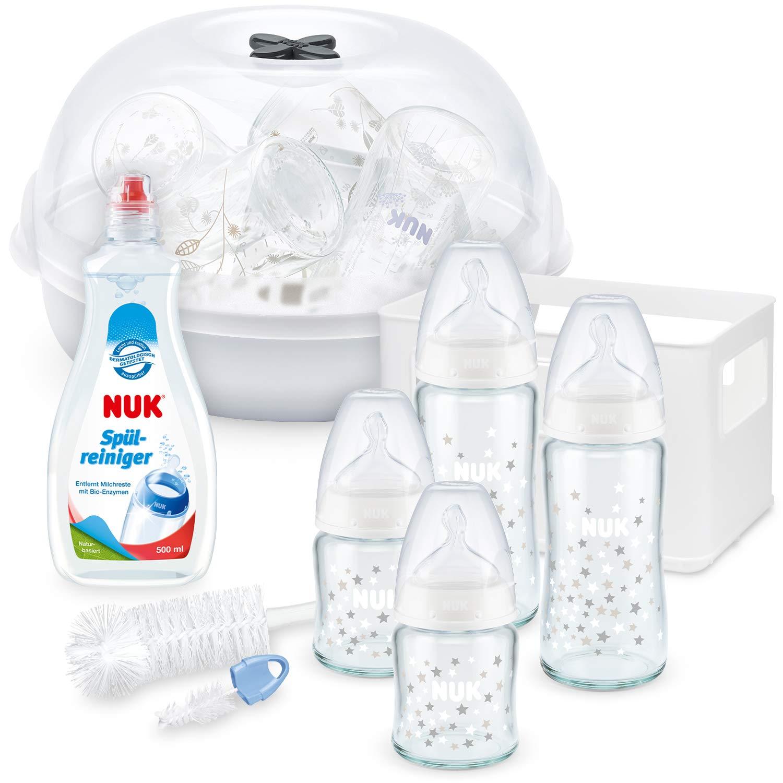 Sp/ülmittel f/ür Babyflaschen /& Sauger Micro Express Plus Mikrowellen Sterilisator Flaschenb/ürste mit integrierter Saugerb/ürste NUK First Choice Plus Glas Babyflaschen Starter Set
