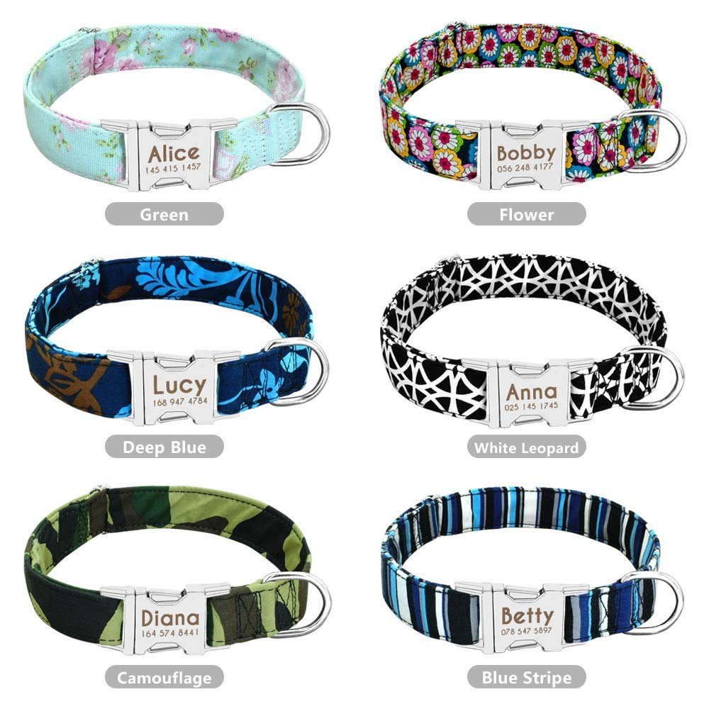 XFTOPSE Dog Collar with Quick Release Buckle,Engraved Pet On Collar ID Tag Braided Dog Collar with Stainless Steel Nameplate
