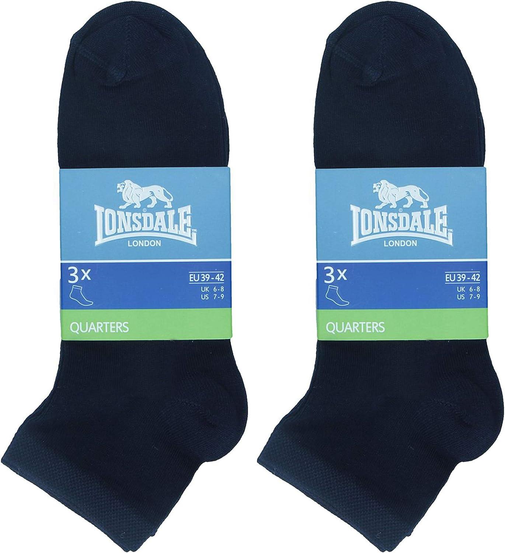 altezza sopra la caviglia ottima qualit/à di cotone mercerizzato Lonsdale 6 Paia di calzini Quarter
