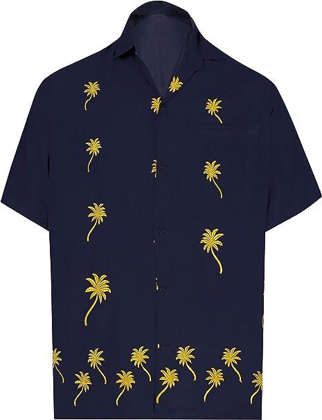 3d8d7508 LA LEELA Men's Hawaiian Beach Camp Stag Shirt Button Down Front ...