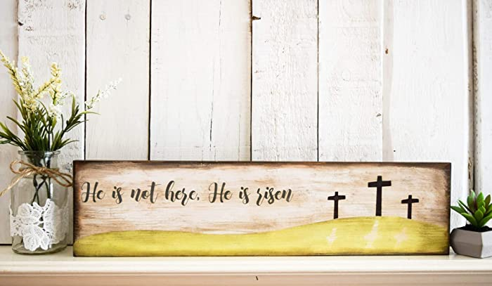 Amazon Com Religious Easter Decorations He Is Risen Sign Rustic