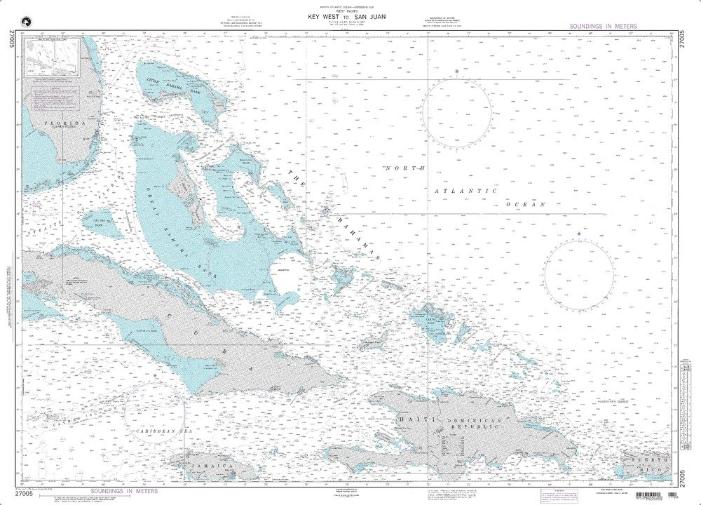 Paradise Cay Publications NGA Chart 27005: Key West To San Juan; 33.5 X 46; TRADITIONAL PAPER by Paradise Cay Publications