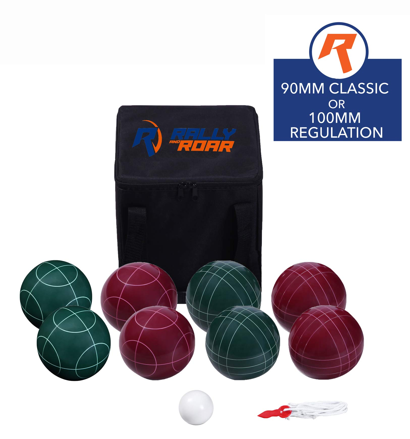 Bocce Ball Game Set for Adults, Families, and Kids - 100 mm - Complete Bocce Yard and Lawn Games with Carrying and Storage Case by Day 1 Sports and Rally & Roar - Fun Outdoor, Backyard, Beach Game