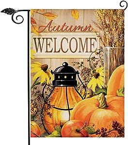 Hzppyz Welcome Autumn Home Decorative Garden Flag Candle Lantern Pumpkins, Autumn Harvest House Yard Wheat Sunflower Decor Flag, Thanksgiving Outside Decorations Seasonal Outdoor Small Flag 12 x 18