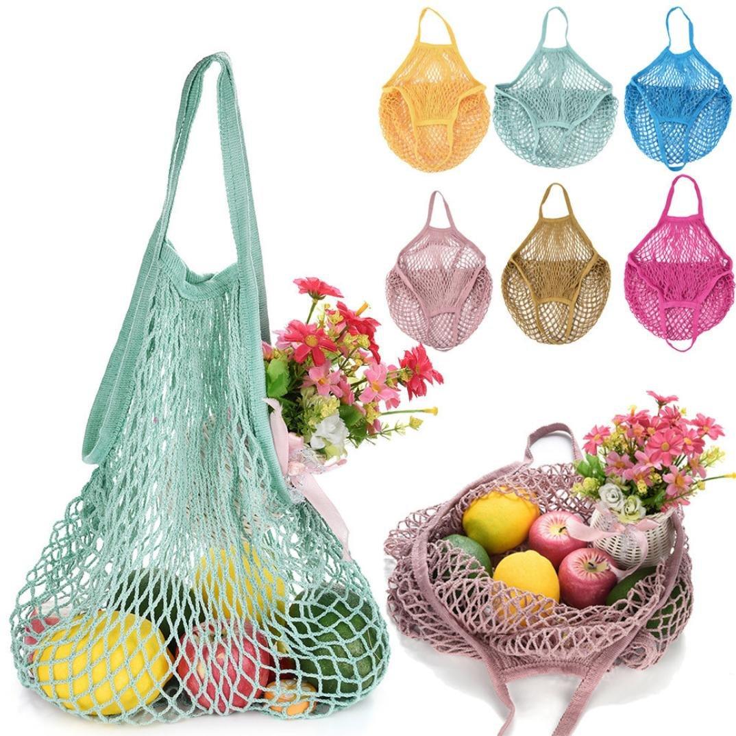 Makaor Portable Reusable Mesh Net String Shopping Bag Reusable Fruit Storage Handbag Totes New Turtle Bag (F, Size: 32 x 38 x 15cm)