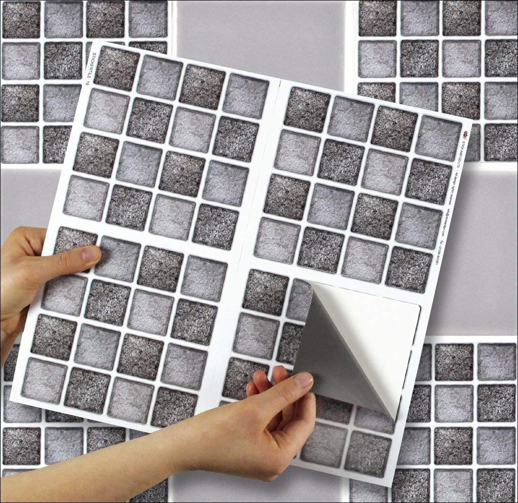 """GRAPHITE MOSAIC sheet of 4 Transfer Tile Stickers for 6"""" x 6"""" (15cm x 15cm) tiles 3M Self Adhesive sheet of four tile sticker transfers for Kitchens & Bathrooms Fully wipeable, steam and heat resistant, non see through material. 35 NEW STYLES availabl"""