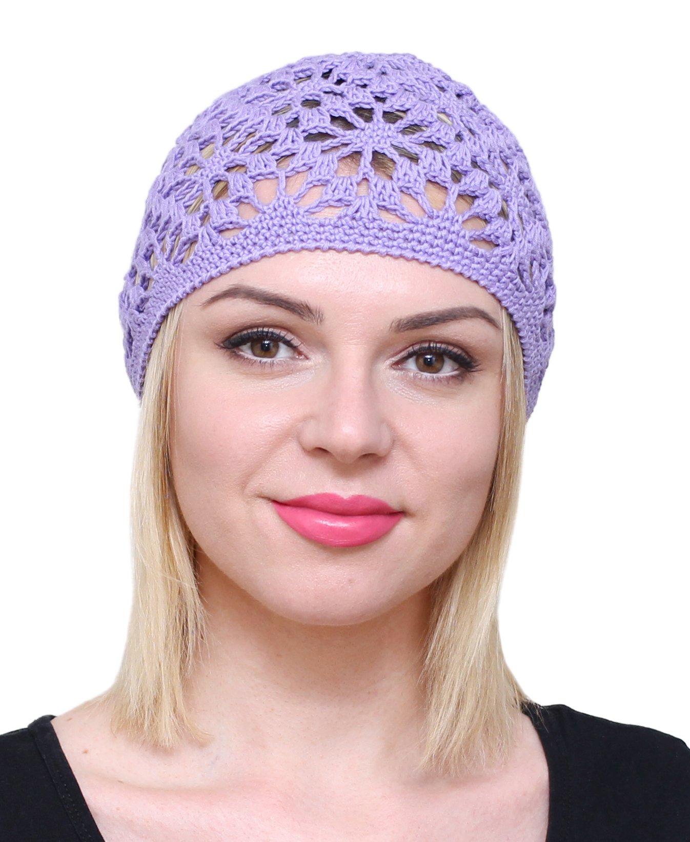 NFB Cotton Hats for Women Ladies Summer Beanie Lace Cloche Hair Accessories Cap (Violet)