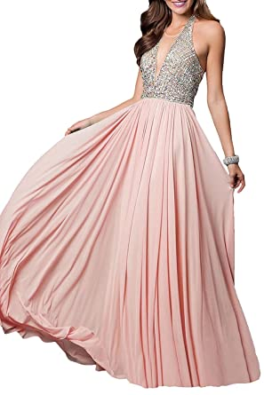 FNKS CRAFT Womens Chiffon Beaded Prom Dresses Backless Evening Party Formal Gowns Blush US2