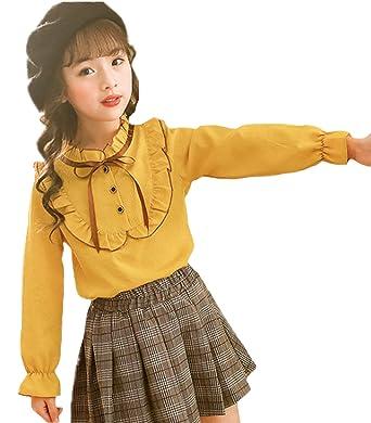 e64a0c8eb8902 ZKKK 子供服 長袖シャツ ガールズシャツ プリンセス ブラウス ピンク トップス 女の子 インナーシャツ レースシャツ