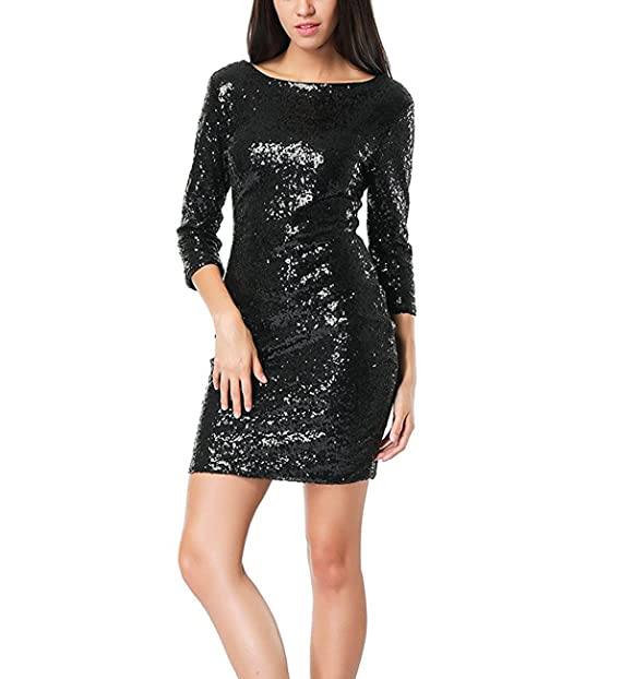 Doramode Women Sexy Glitter 3 4 Sleeve Backless Bodycon Short Club Dress  Black S 4ccefd22bed9