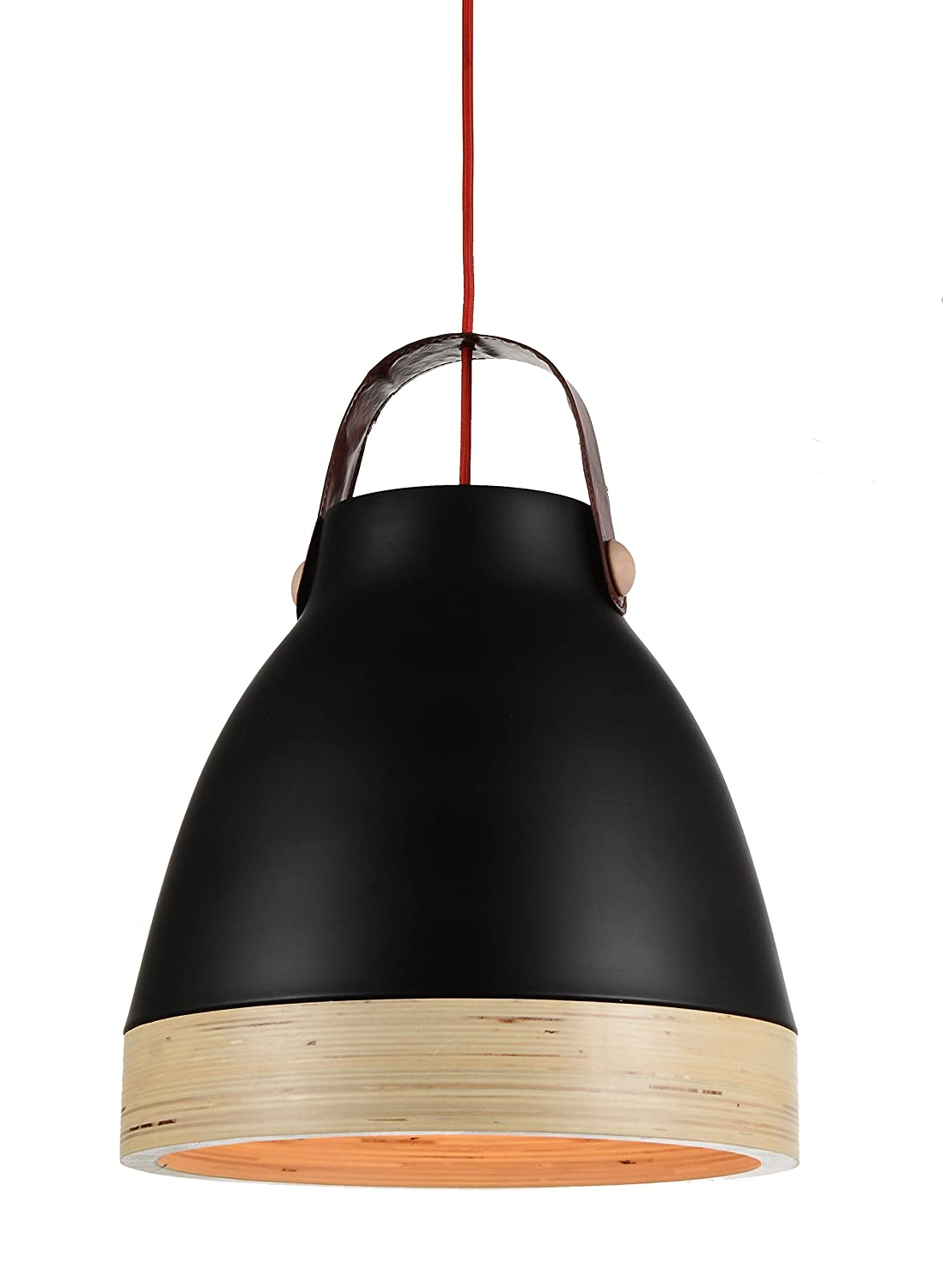 LED Light Bulb Included Cocoweb 13 Norcia Pendant Light with Wood Trim Black