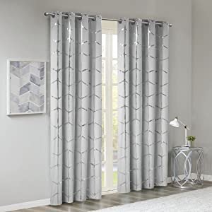 "Intelligent Design Raina Window Panel 50"" x 84"" Grey/Silver"