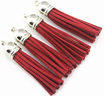 30Pcs Wholesale Leather Tassel Suede DIY Keychain Pendant Jewelry Finding Charms