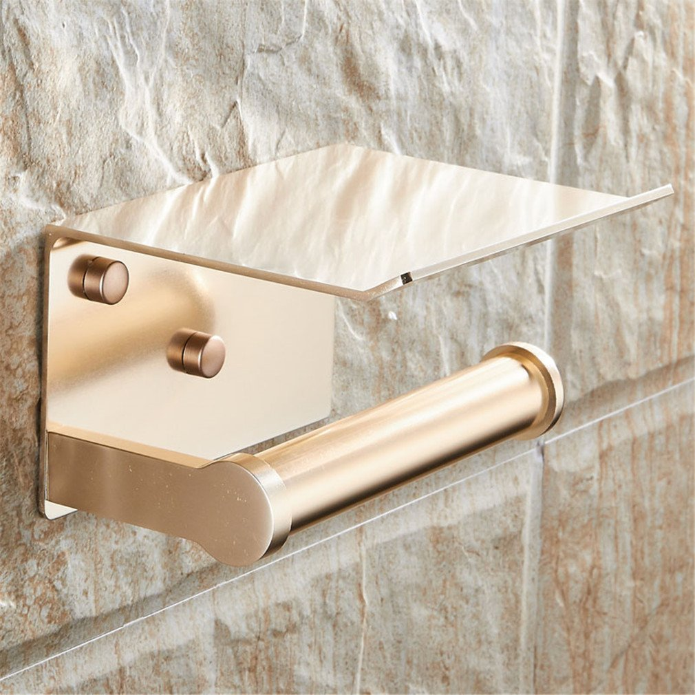 DIEERCARS Wall Mounted Space Aluminum Black/Golden Paper Towel Shelf Phone Toilet Paper Holder