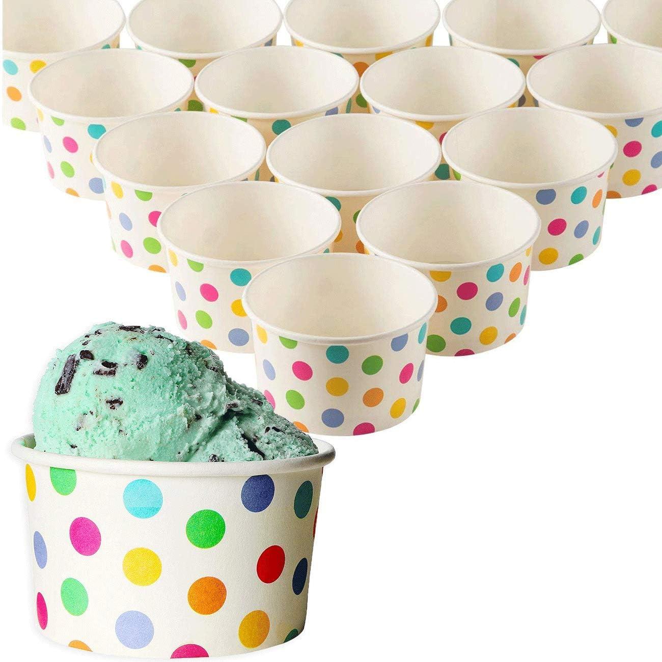 Juvale 50-Count Paper Ice Cream Sundae Cups, Yogurt Dessert Bowls, Rainbow Polka Dots Party Supplies, 8-Ounces