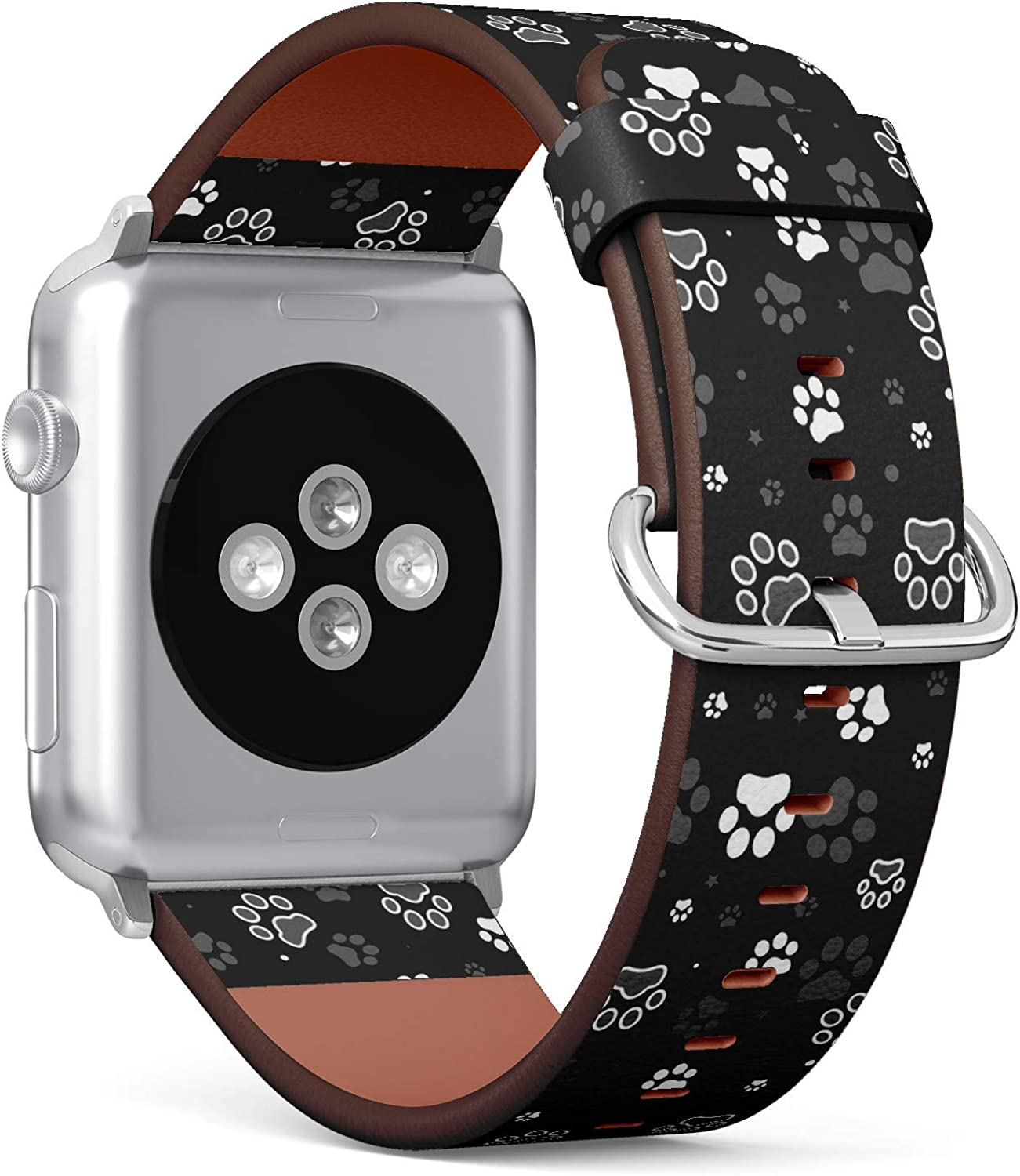 Dog Paws Pattern - Patterned Leather Wristband Strap Compatible with Apple Watch Series 4/3/2/1 42/44mm