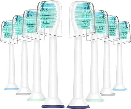 Para la cabeza del cepillo de dientes Sonicare de Philips, cabezas de cepillo de repuesto Yanban para HX6530 HX6014 Paquete de 8 cabezas Healthywhite + Adaptiveclean Pack de 8: Amazon.es: Bebé