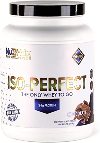 NuEthix Formulations Iso-Perfect Whey Protein Isolate Powder with 24g Protein, Naturally Sweetened with Stevia, Chocolate, 32 Servings