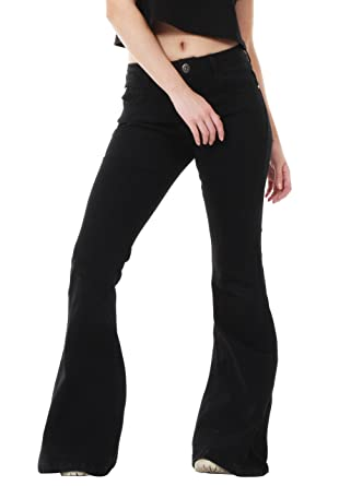 60s 70s Black Denim Flares Bell Bottoms Wide Bell Bottom Jeans at ...