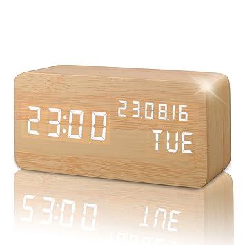 Reloj Alarma Despertador Digital de Madera, Silencioso LED Pantalla Brillo Ajustable / Control de Sonido