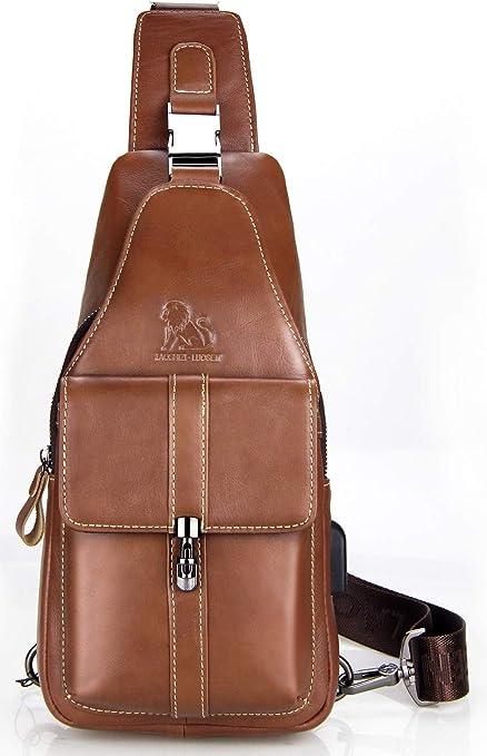 Mens Stylish Genuine Leather Sling//Shoulder//Side Bag Backpack Dark Brown 5