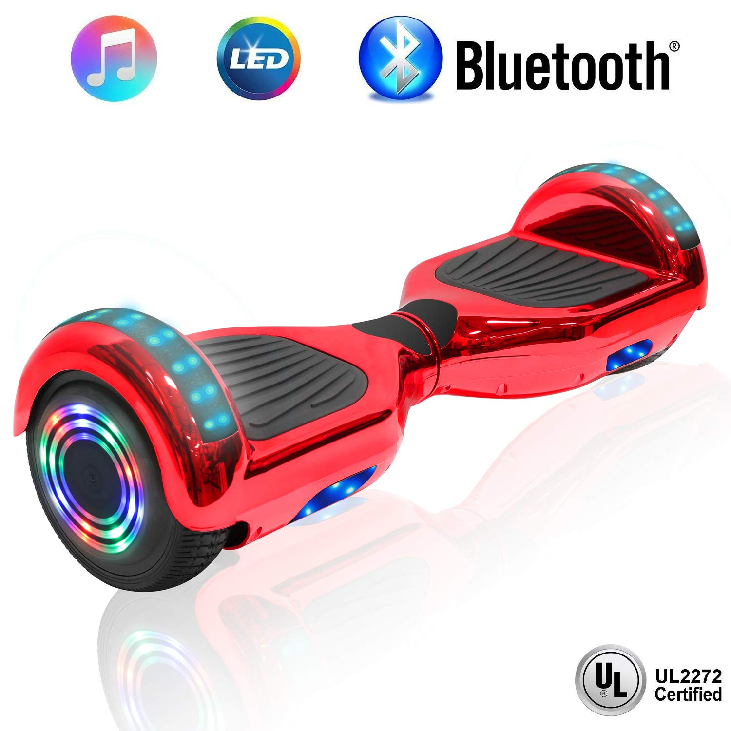 NHT 6.5'' Hoverboard Electric Self Balancing Scooter Sidelights - UL2272 Certified Black, Blue, Pink, Red, White (Chrome Red) by NHT (Image #1)