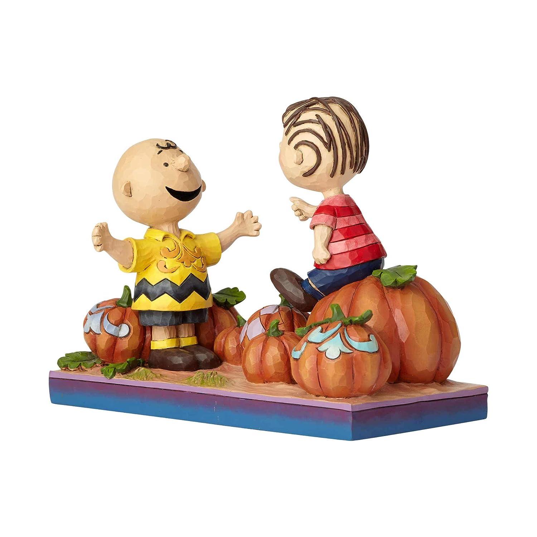 Enesco Peanuts by Jim Shore Charlie Brown and Linus Pumpkin Figurine, 5.5 , Multicolor