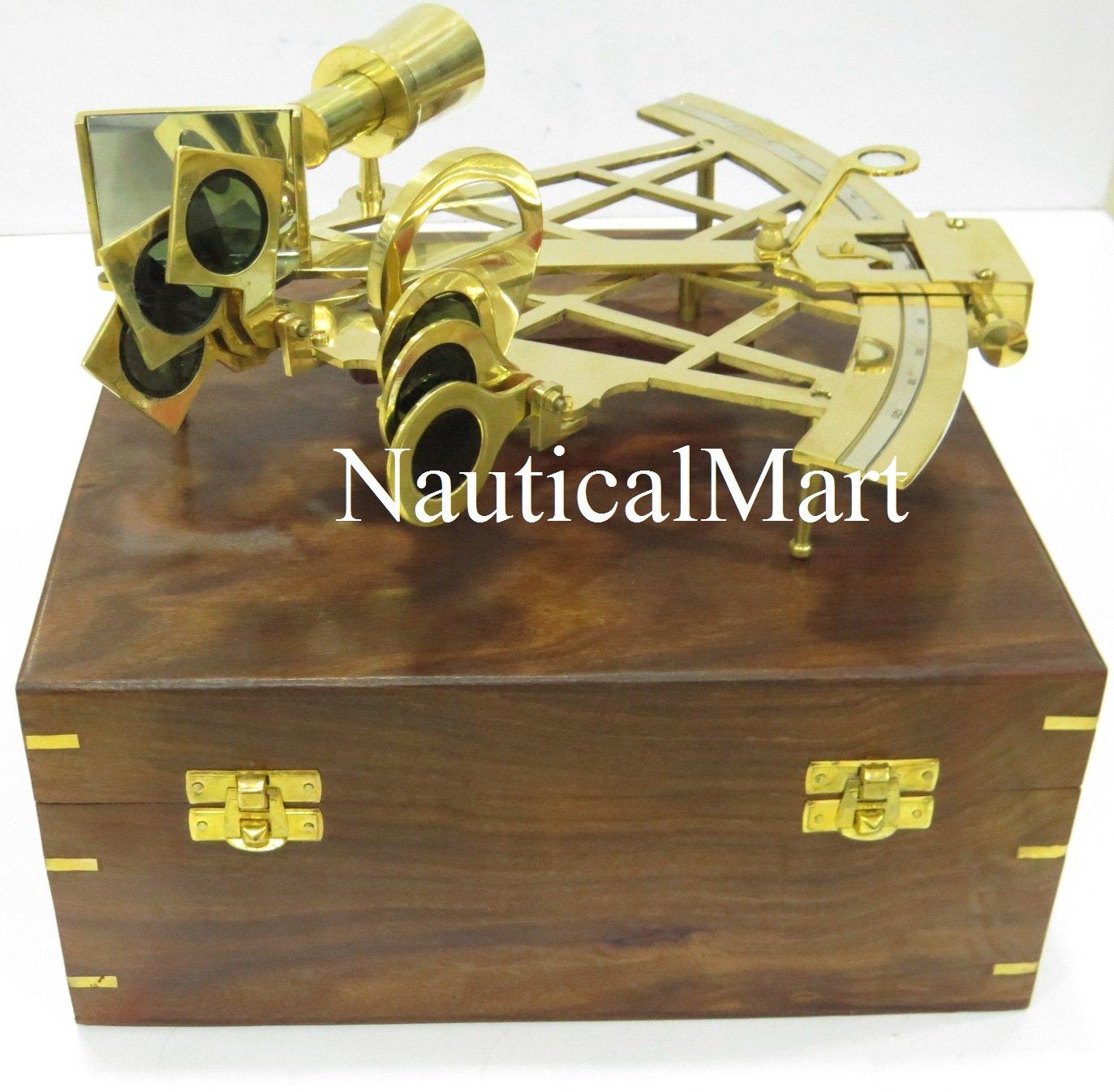 Nauticalmart sestante in ottone 25, 4cm con scatola di legno NauticalMart Inc
