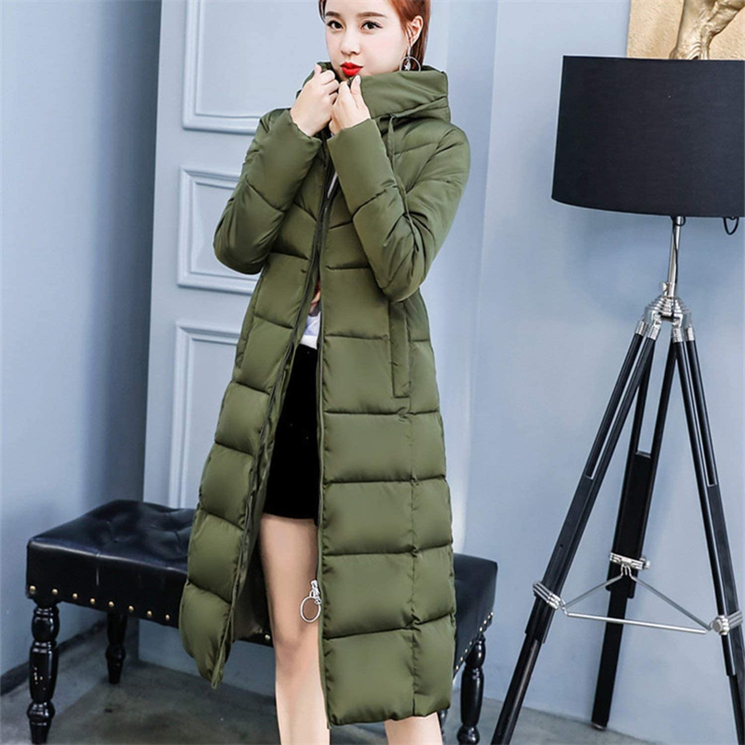 Winter Slim Long Section Female Warm Coat Casual Thicken Hooded Collar Clothes Womens Clo,Black,M