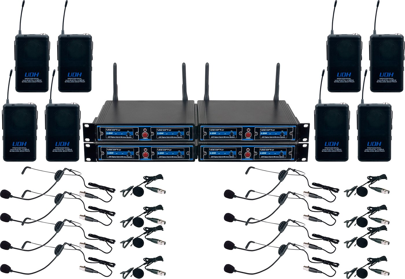 VocoPro UDHPLAY8 EIGHT CHANNEL UHF Headset & Label Wireless Microphone Package with Mic-on-chip technology