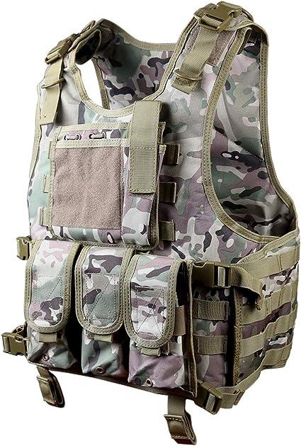 Goetland 900D Polyester Gilet Tactique Airsoft Jeu de Guerre Cosplay de Counter Strike Jeu Chasse Camping Randonn/ée Gilet en Plein Air CS Jeu R/églable S-XXL
