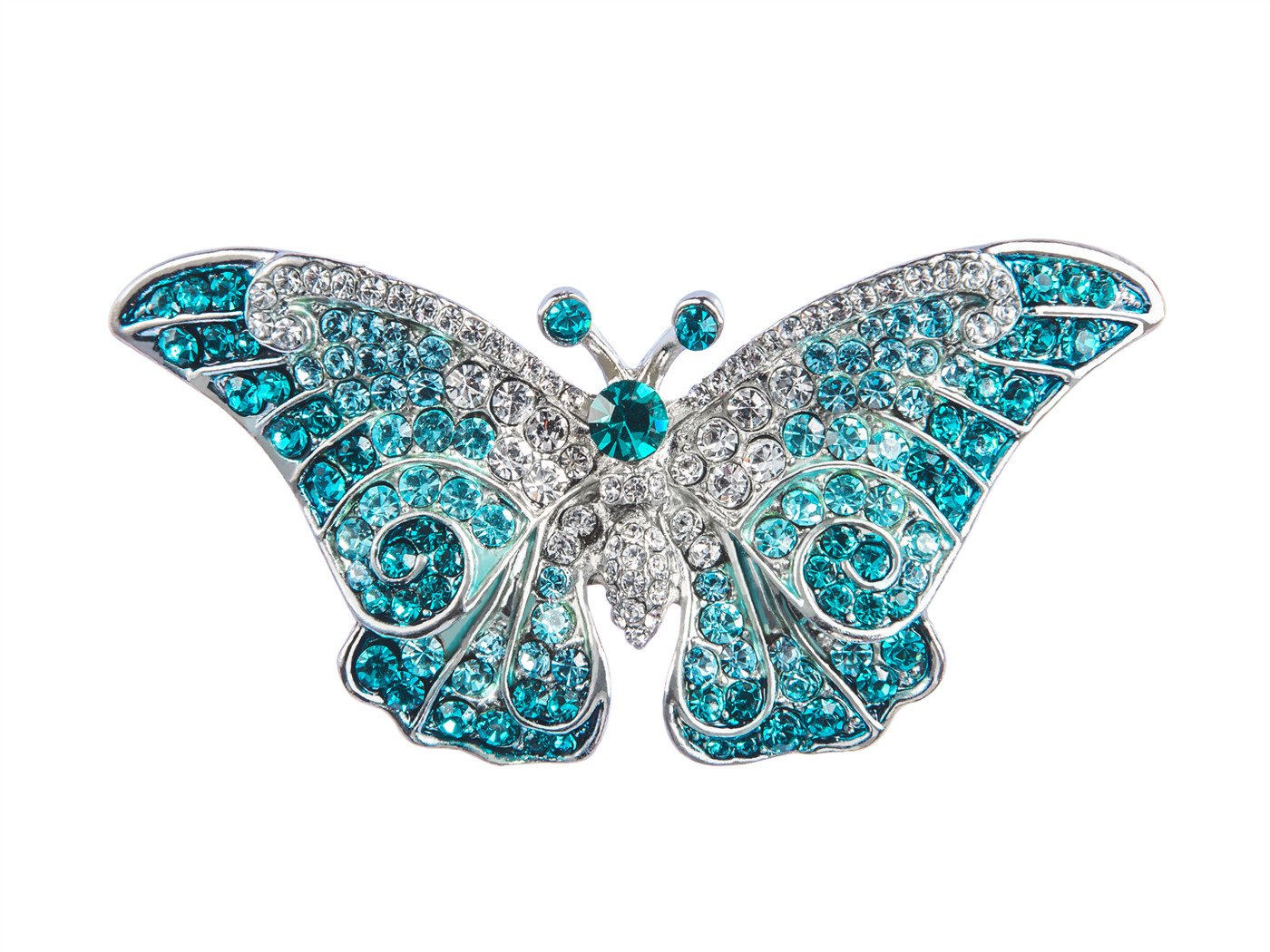 Alilang Empress Monarch Winged Butterfly Swarovski Crystal Rhinestones Brooch Pin , Blue
