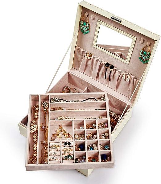 Meerveil Caja Joyero, Caja de Joyería 2 Cajones Caja Joyero con Espejo Cuero PU Forrado conterciopelo Caja para Relojes.: Amazon.es: Juguetes y juegos