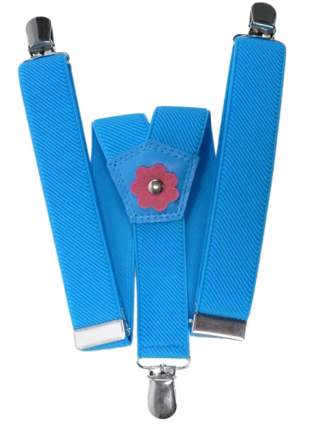 Hosenträger für Mädchen 1-5 Jahre mit 3 Clips und Blume Design KIDSBRACESHlilac