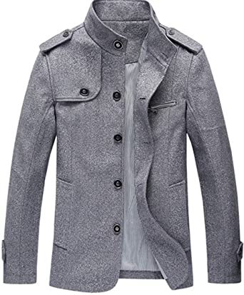 6288c63aa S&S Men's Thicken Warm LongSleeve Single Breasted Stand Collar Epaulet Wool  Peacoat at Amazon Men's Clothing store: