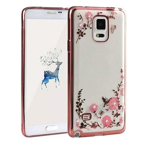 Galaxy Note 4,Galaxy Note 4 SM-N910F Case, Asnlove Crystal Cover Funda de TPU Silicona con Bling Diamante Plastica Suave Carcasa Cubierta Rojo Fuerte ...