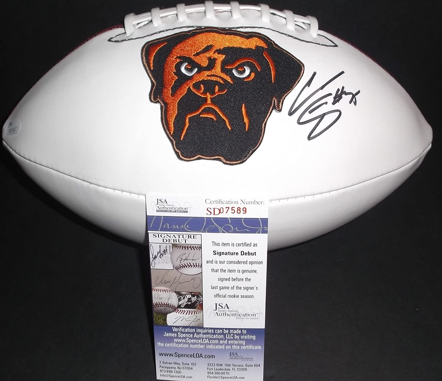 d6fd1524e Cameron Erving Cleveland Browns Autographed Signed Logo Football JSA COA at  Amazon s Sports Collectibles Store