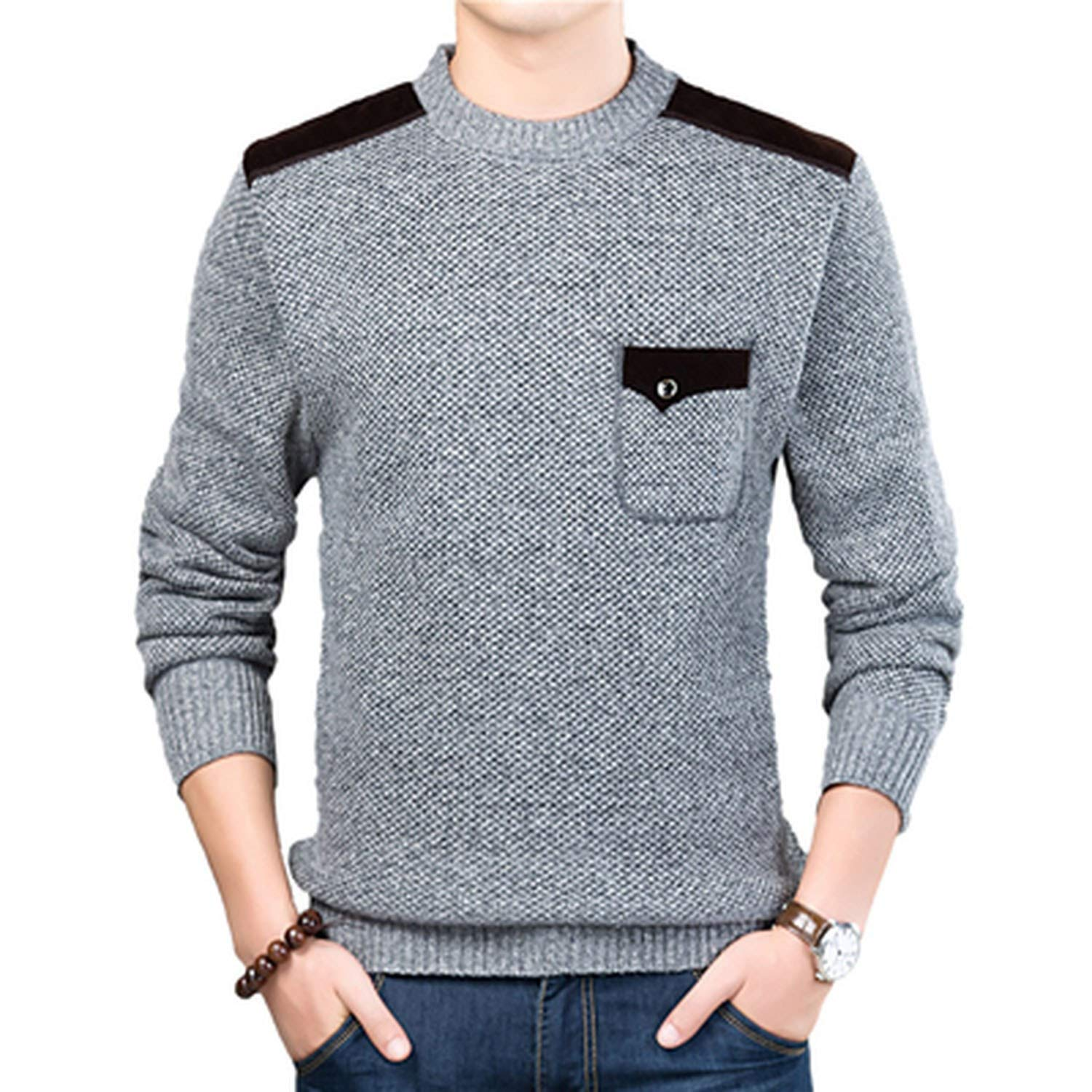 cant be satisfied Autumn Winter Mens Sweater Turtleneck Solid Color Casual Sweater Slim Fit Knitted Pullovers,Light Grey,L