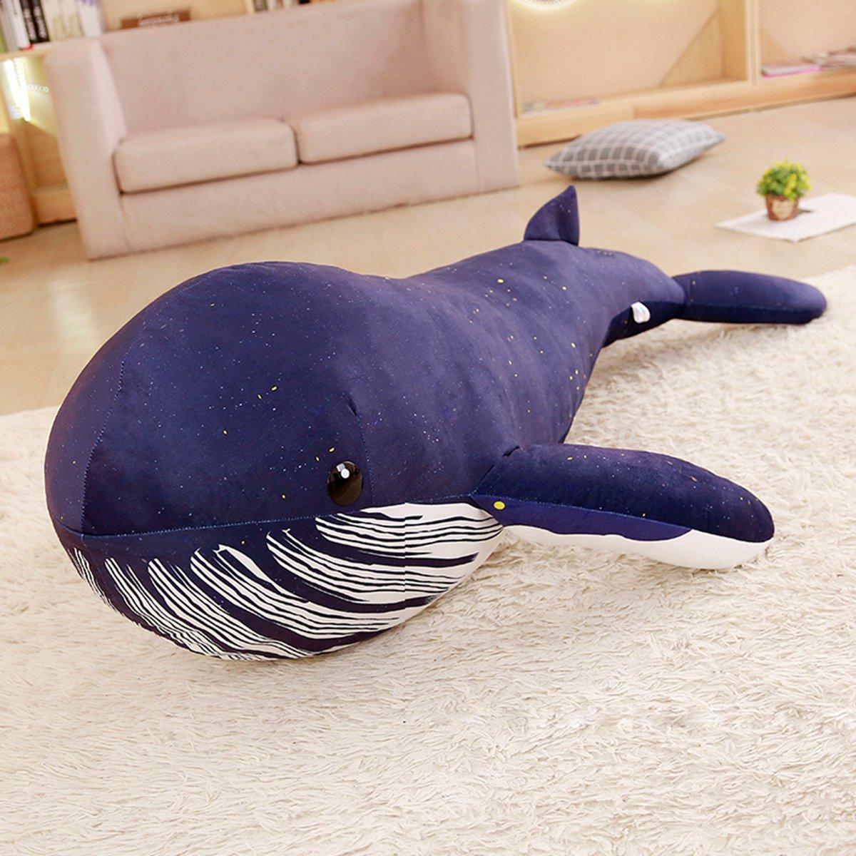 1,25 Meter BAONZEN Cartoon Walhai Puppy Spielzeug Wal große Rag Puppenkissen große Hai Blauwal Kind Kissen Puppe, Spielzeug. Dunkelblauer Gedruckter Walhai, 1,25 Meter