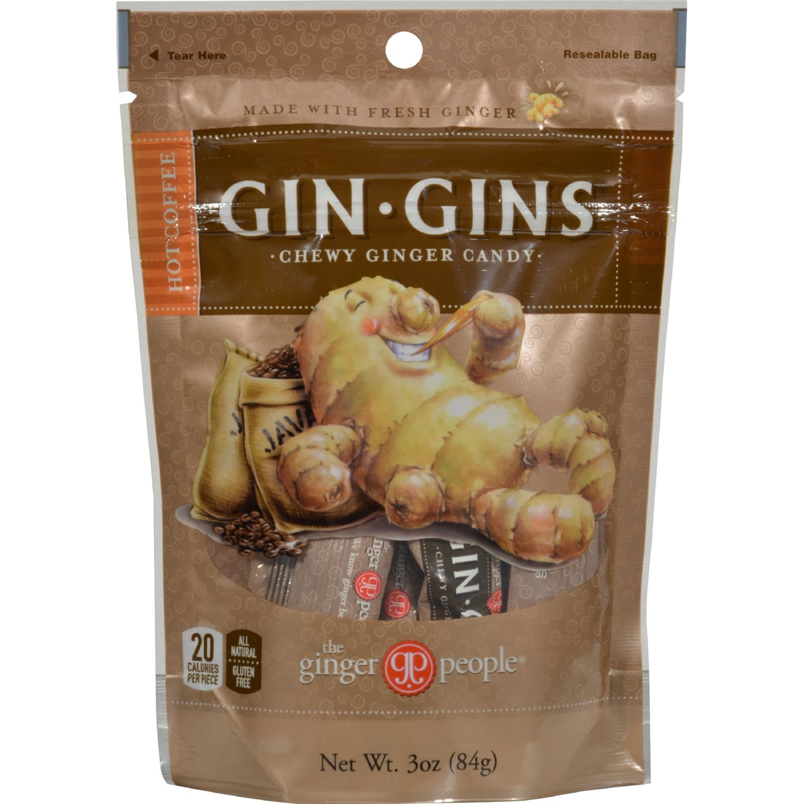 Ginger People Gingins Chewy Ginger Candy Hot Coffee Bags - no Gluten - Case of 24 - 3 Ounce