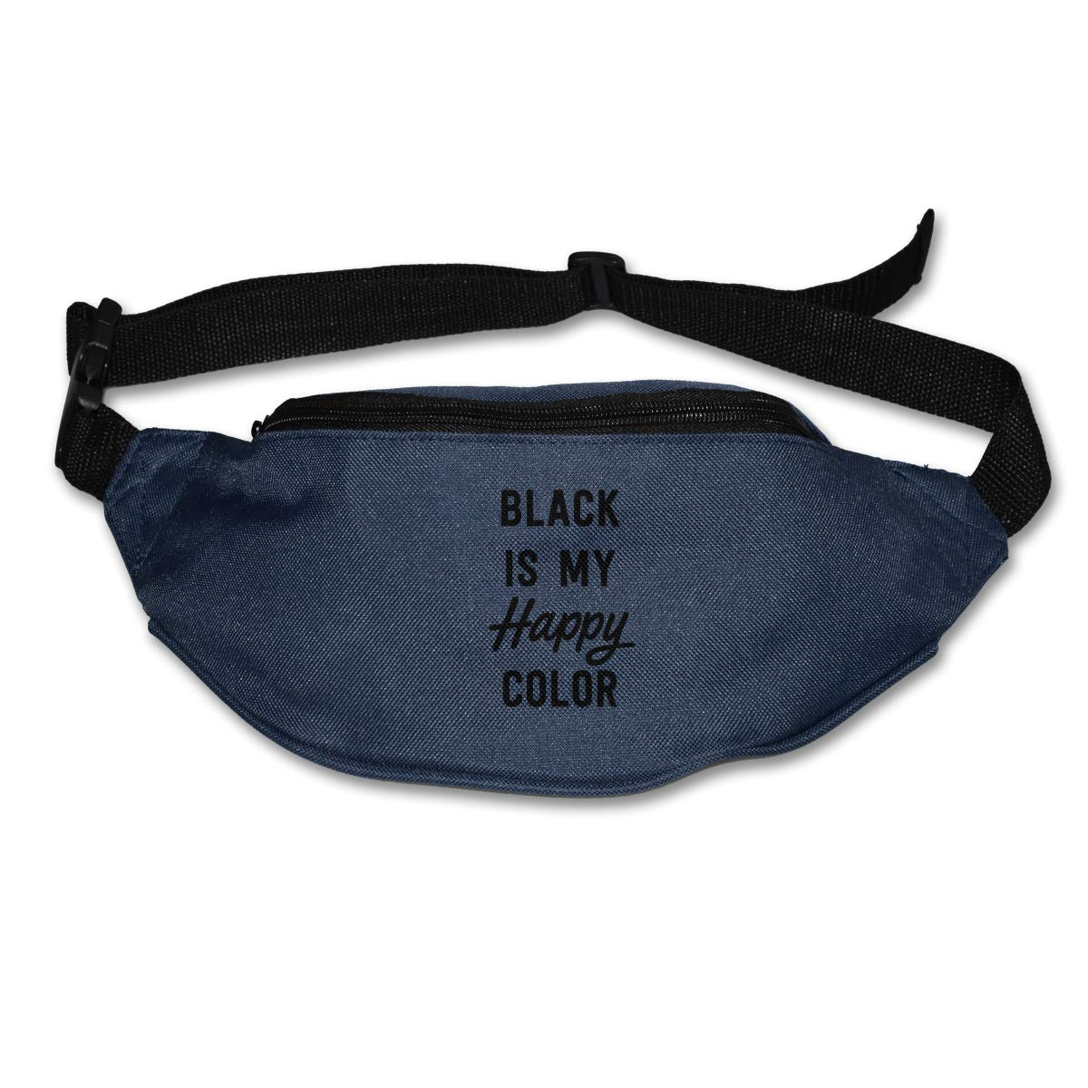 Black Is My Happy Color Sport Waist Packs Fanny Pack Adjustable For Hike