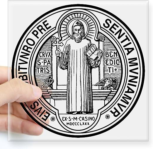 Benedikt Medaille quadratischer Aufkleber Small CafePress St 3x3 farblos